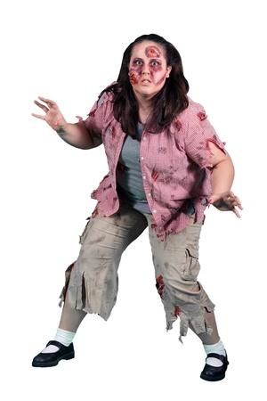 A female halloween zombie on white Stock Photo