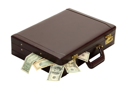 overflows: A briefcase overflows with expenses, wages, taxes or profits isolated on white
