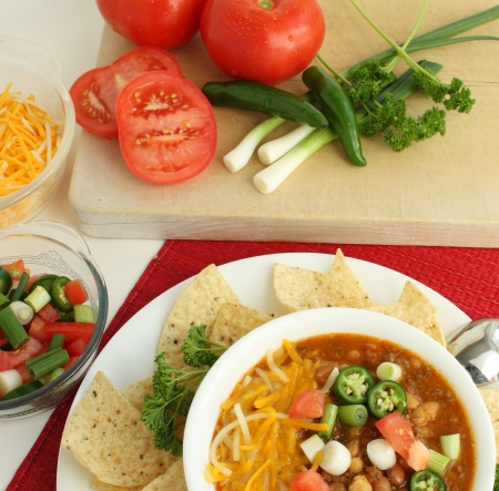 Hot Spicy Chili with Fresh Veggies provide warmth on a winter day