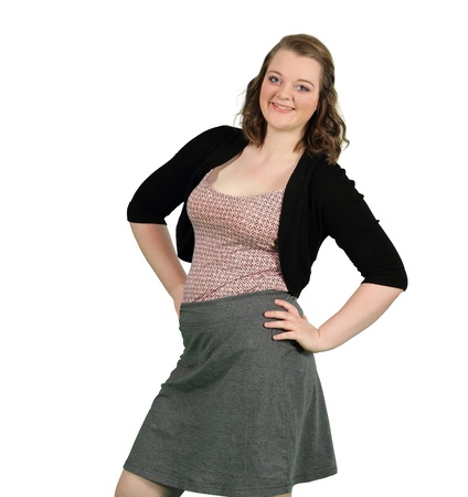 secretary skirt: A young lady exhudes confidence and success isolated on white Stock Photo