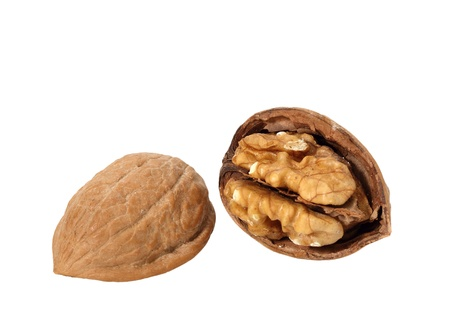 Walnut Cracked Open in Shell isolated on white Stock Photo