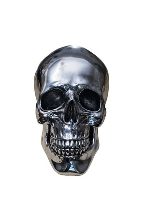 calavera: metal chrome skull isolated on white background