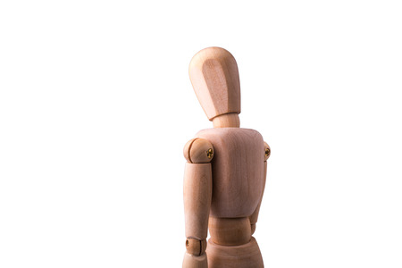 Wooden Model of the person on the white isolated background