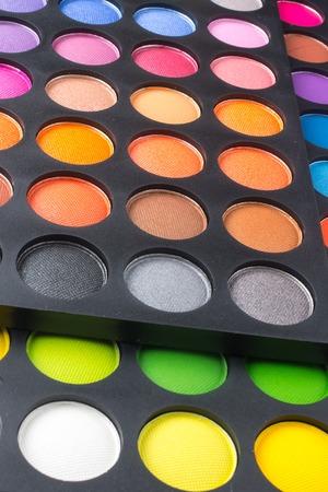 big set of bright colorful eye shadow makeup