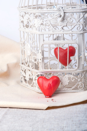 red heart locked in a vintage cage