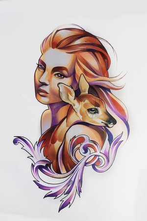Illustration of a girl drawn by hand with pencil and markers on white paper Zdjęcie Seryjne
