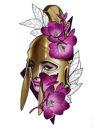 illustration of a girl warrior Gladiator in a helmet and with flowers