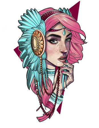 illustration of a girl with pink hair and feather decoration