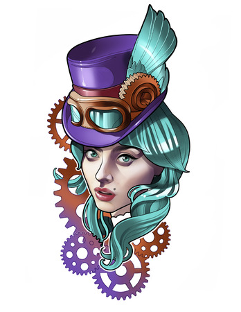 Portrait of a beautiful girl in a hat with glasses in steampunk style