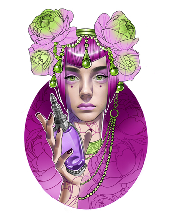 Portrait of a beautiful girl with flowers on her head and a bottle of perfume