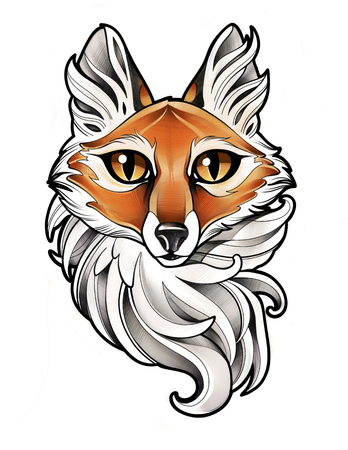 digital illustration of the head of a beautiful Fox with big eyes