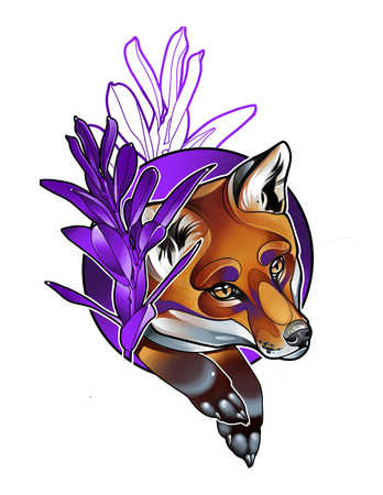 digital illustration of the head of a beautiful Fox in purple flowers