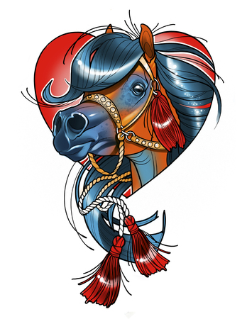 digital illustration of a beautiful horses head in a bridle with tassels