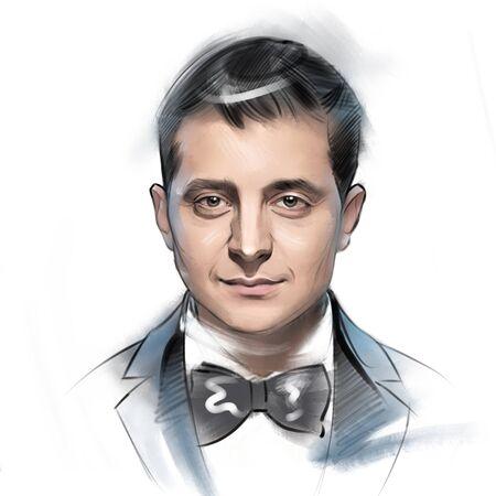 digital illustration portrait of new President of Ukraine Vladimir Zelensky