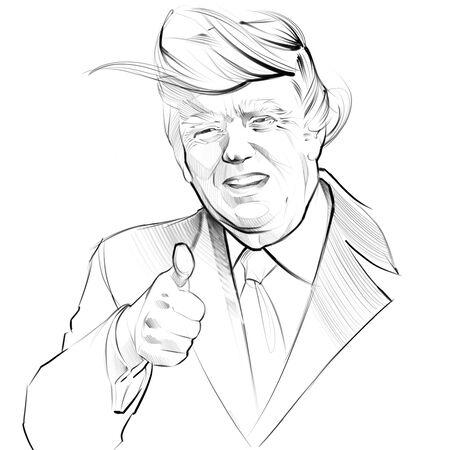 digital illustration portrait of President of USA Donald Trump Editorial