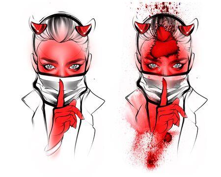 Illustration Portrait devil girl flu virus covid 19