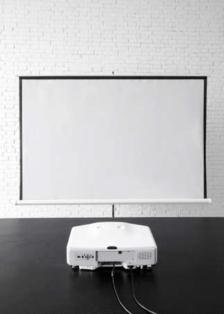 Blank projector canvas in the office