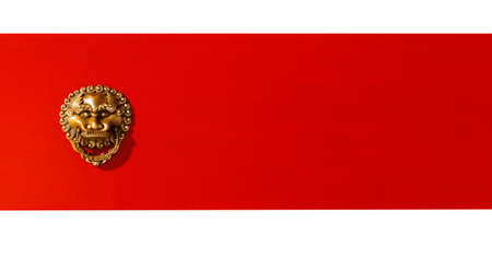 Chinese traditional elements background, lion head red door element. On white background 免版税图像
