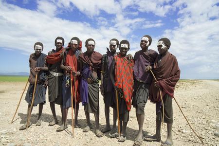 Masai boys in black clothes in Tanzania