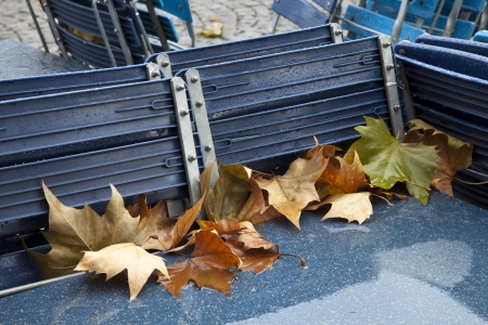 garden chair: Empty tables and chairs with autumn leaves Stock Photo