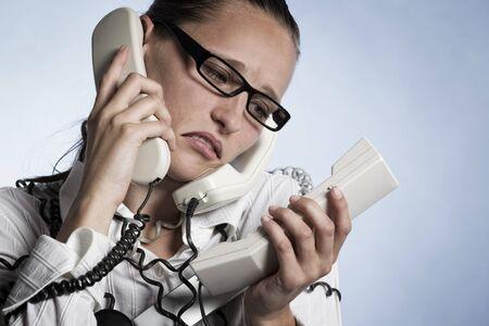 Stressed phone operator.
