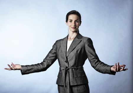 Business woman demonstrating a concept.