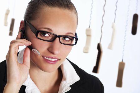 Customer service representative on phone.