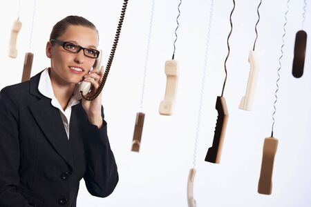 Call center providing customer service. Banque d'images