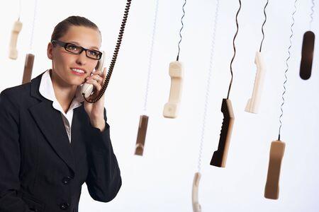 Call center providing customer service. Foto de archivo