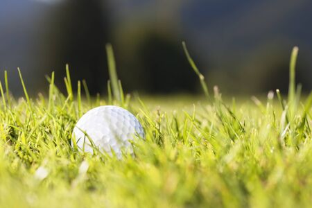 Close up of white golf ball lying in green grass on bright sunny day. 写真素材