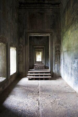 View at mystical empty room and passageway at Angkor Wat temple, Angkor, Cambodia