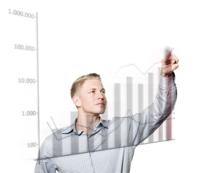 Concept: Positive business outlook. Confident businessman with business chart pointing at growing graph, isolated on white background.
