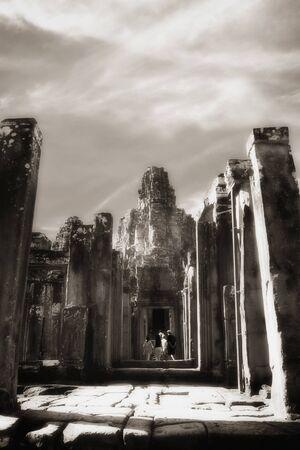 Passageway at Bayon temple, Angkor, Cambodia, infrared-monochrome image.