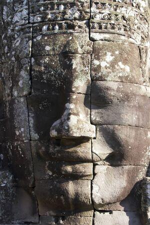 Face at Bayon Temple, Angkor Stock Photo