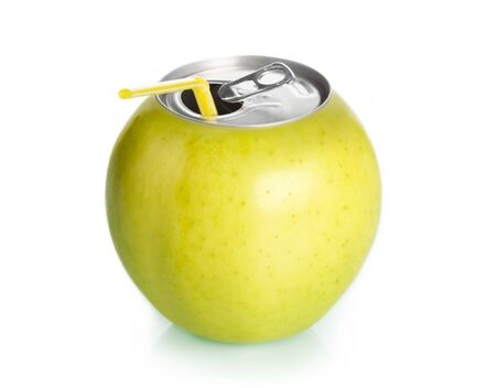 Apple can juice with straw, concept.