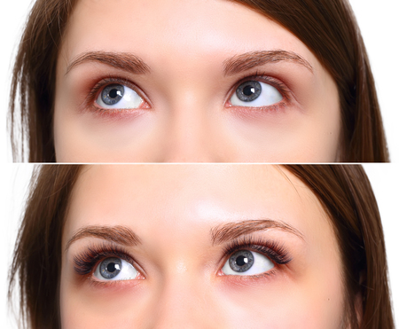 master volume: Eyelash Extension. Comparison of female eyes before and after.