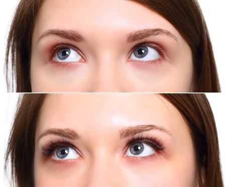 Wimpers Extensie. Vergelijking van vrouwelijke ogen voor en na.