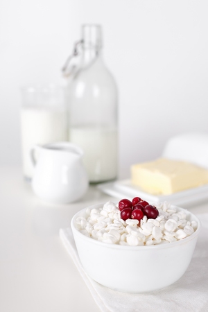 Dairy products on white table. Sour cream, milk, cheese, egg. selective focus.
