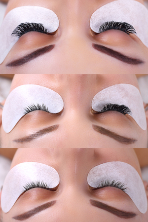 Eyelash Extension. Comparison of female eyes before and after. Stok Fotoğraf - 77239654