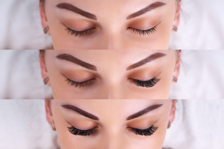 Procedimiento de extensión de pestañas. Comparación de ojos femeninos antes y después.