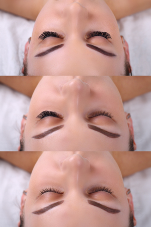 Eyelash Extension Procedure. Comparison of female eyes before and after. Reklamní fotografie