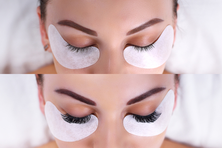 Eyelash Extension Procedure. Female eyes before and after.