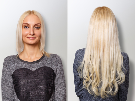 Hair extensions procedure. Hair before and after. 스톡 콘텐츠