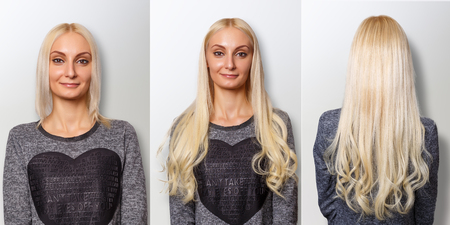 Hair extensions procedure. Hair before and after. Standard-Bild