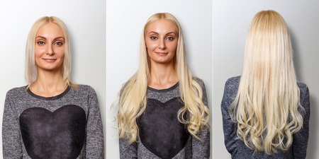 Hair extensions procedure. Hair before and after. Stockfoto