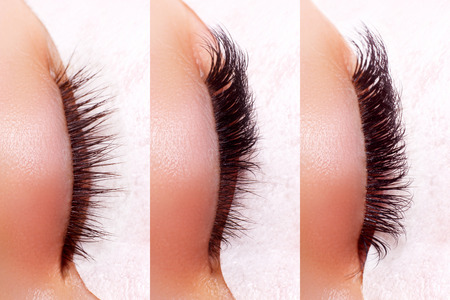 Eyelash Extension Procedure. Comparison of female eyes before and after. Banco de Imagens