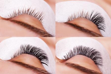 Eyelash Extension Procedure. Comparison of female eyes before and after. Reklamní fotografie