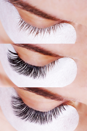 Eyelash Extension Procedure. Comparison of female eyes before and after. 免版税图像