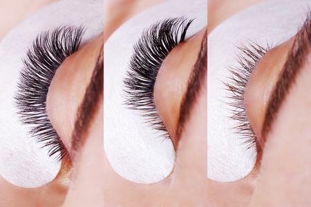 Eyelash Extension Procedure. Comparison of female eyes before and after. 版權商用圖片