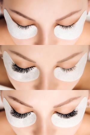 Wimpernverlängerung . Vergleich der weiblichen Augen und nachher Standard-Bild - 99332396